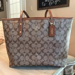 Authentic Brown and Tan Coach Logo Tote